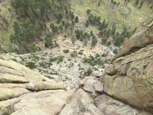 Climbing the thick rock columns